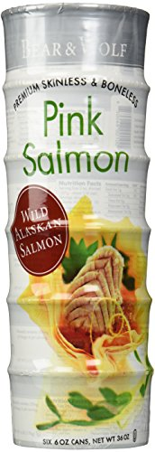 Bear and Wolf Pink Salmon Wild Alaskan, 6-Count  6 Oz cans (Smoked Salmon Canned compare prices)