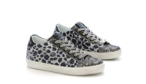 Leopard 40 Donna Crown Glitter Sneaker Leather qwtOF1x