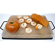 "Himalite Himalayan Pink Salt Cooking Block and Tray Set 12"" x 8"" x 1.5"" for Cooking, Grilling, Cutting and Serving with Metal Tray Himalayan Rock Salt"