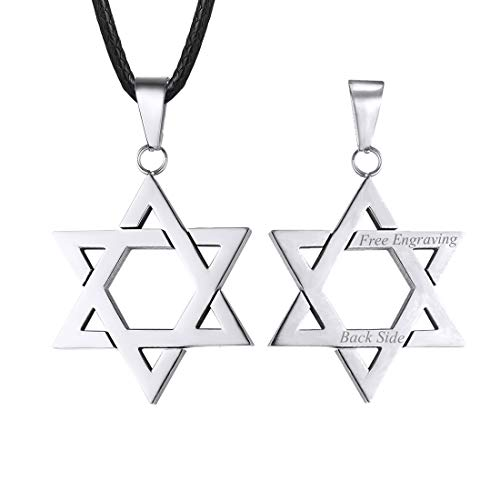 U7 Jewish Jewelry Custom Engraving Back Side Men Women Personalized Leather Cord Chain Stainless Steel Megan Star of David Pendant Necklace 26 Inch