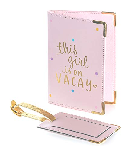 "Dayna Lee Passport Cover Holder And Luggage Tag Set In Gift Box, ""This Girl Is On Vacay"""