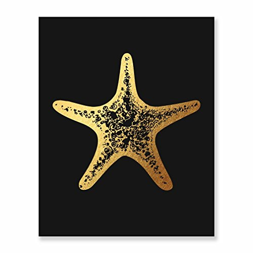 Starfish Art Print Summer Island Beach Themed Atlantic or Pacific Ocean Seaside Sun & Sand Vacation Inspiration Artwork Wall Hanging or Desk Tabletop Poster Gold Foil on Black 8 x 10 Inches F17