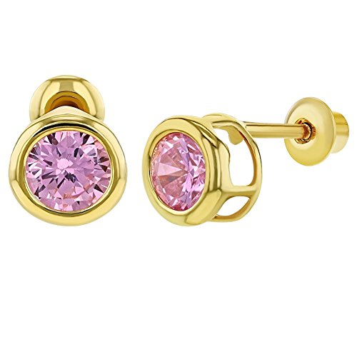 - 18k Gold Plated Screw Back Girls Earrings Pink Crystal Round Bezel Set 5mm