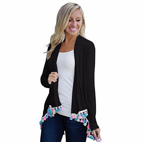 Cotton Kimono,Leegor Women Chic Elegant Color Tassel Cardigan Tops Coat Blouse (S, Black)