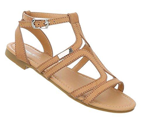 Schuhcity24 Damen Schuhe Sandalen Riemchen Pumps Hellbraun
