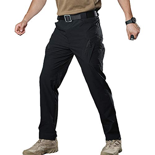(Susclude Men's Outdoor Quick Dry Military Tactical Pants Summer Lightweight Cargo Pants with Multiple-Pockets Black M )