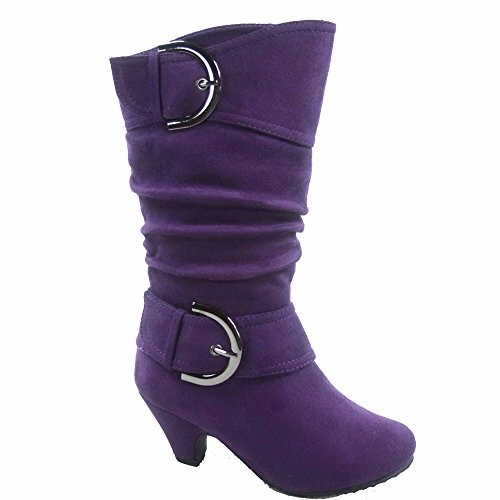 Auto-8k Girl's Youth Fashion Round Toe Low Heel Slouch Buckle Zipper Boots Shoes (12, Purple)