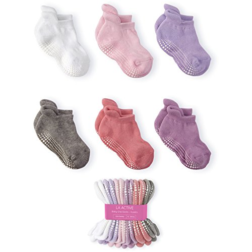 LA Active Baby Toddler Grip Ankle Socks - 6 Pairs - Non Slip/Skid Covered (Girls)