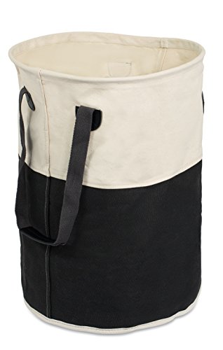 BirdRock Home Round Cloth Laundry Hamper with Handles | Dirty Clothes Sorter | Easy Storage | Foldable | Black and White Canvas by BirdRock Home