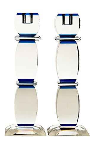"""Price comparison product image Crystal Candlesticks Accentuated with Deep Blue Accents 9.5"""""""