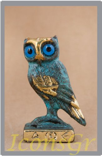 Ancient Greek Bronze Museum Statue Replica of Owl on a Podium (526)