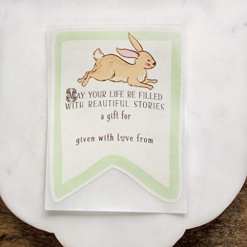 Baby Shower Bookplates Green Bunny Book Stickers Personalized Set of 10