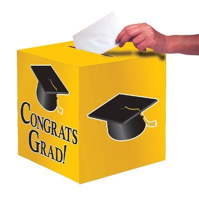 Club Pack of 6 School Bus Yellow ''Congrats Grad'' Decorative Graduation Party Card Boxes 9'' by Party Central