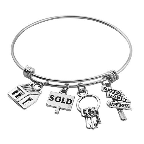 SEIRAA Real Estate Agent Charm Bangle Adjustable Wire Bracelets Stainless Steel Realtor Jewelry Gifts (Bracelet)