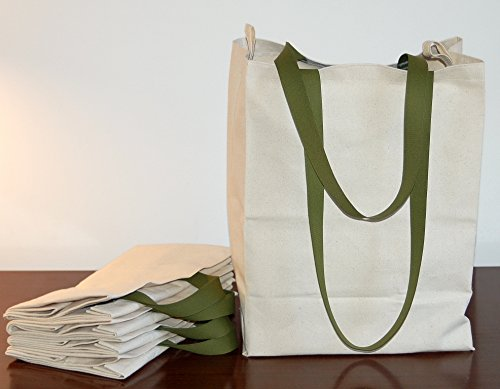 Turtlecreek Cotton Canvas Reusable Grocery Tote Bags w/ Long Handles - Regular Size - Two Pack by Turtlecreek Turtlecreek Products bag_reg_longgreen_2pak