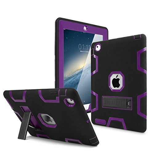 iPad 2 Case,iPad 3 Case,iPad 4 Case, AICase Kickstand Shockproof Heavy Duty High Impact Resistant Rugged Hybrid Three Layer Armor Full Body Protection Case with Stylus for iPad 2/3/4 (Black/Purple) (2nd Purple Ipad Case Generation)