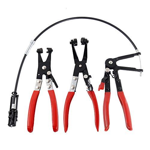 WarmCare Hose Clamp Pliers Set 3 Pcs/set of Car Radiator Hose Clips including Flexible Hose Clamp Plier& Angled Flat Band Hose Clamp Pliers Car Maintenance Tools