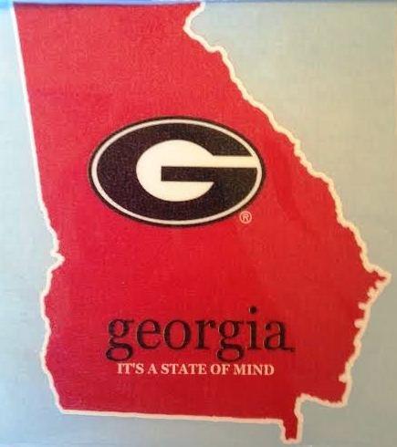 Georgia It's a State of Mind Car Decal - UGA Bulldogs Auto Window Sticker ()