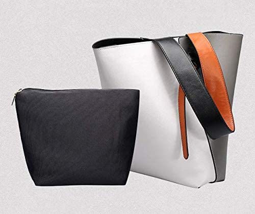 LIUGAOHUA Handtasche Eimer Frau Tasche Beulen Farbe Ein-Schulter Kantige Frauen Tasche 32cm*10cm*26cm/ grau