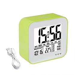 Digital Alarm Clock 3 Alarm Options, Tsumbay Large Display Desk Alarm Clock USB Rechargeable Travel Clock with Touch Sensor Backlight & Snooze, 3 Workday Mode, Temperature, Calendar, for Bedroom, Kids