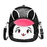 Fine Kids Girls Dazzling Sequins Rabbit Ears Backpack Daypack Shoulder Travel Mini Bag Satchel School Backpack Girls Book Bag(Black)