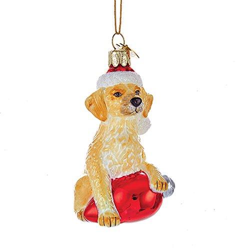 Retriever Glass Ornament - Kurt Adler Glass Noble Gems Golden Retriever on Red C7 Bulb Christmas Ornament