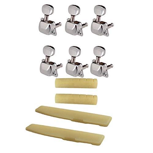 Flameer Guitarra Acústica De 6 Cuerdas Bone Bridge Saddle Nut + 6R Claves De Afinación Claves