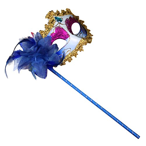 [Clearbridal Women's Sexy Blue Masquerade Mask On Stick With Feather CMJ018BL] (Feather Mask With Stick)