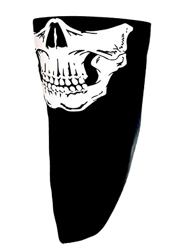Black USA Made Adjustable Close Custom Cotton Bandana Skull Face Reversible Biker Mask Costume Fits Youth and Adults Head Measurements 18 to 24 inches Circumference