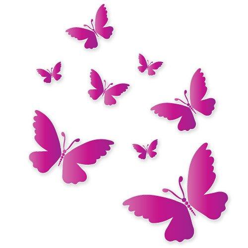 Pink Butterflies Beautiful Set of 8 Vinyl Stickers - Car Window Bumper Laptop - SELECT SIZE (Atv Decals Pink)