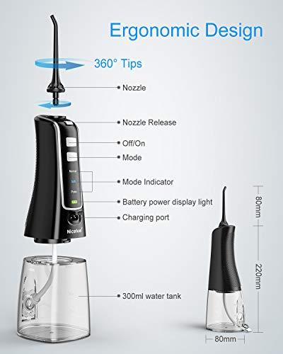 Cordless Water Flosser Teeth Cleaner, Nicefeel 300ML USB Rechargable Portable Oral Irrigator for Travel,Home 3-Modes IPX7 Waterproof Water Dental Flosser with 4 Jet Tips for Braces and Teeth Whitening