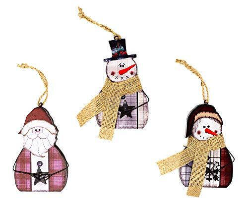 Harbor 55 Christmas Santa & Snowman Ornament Decorations Set of 3, Wood, Painted, 5
