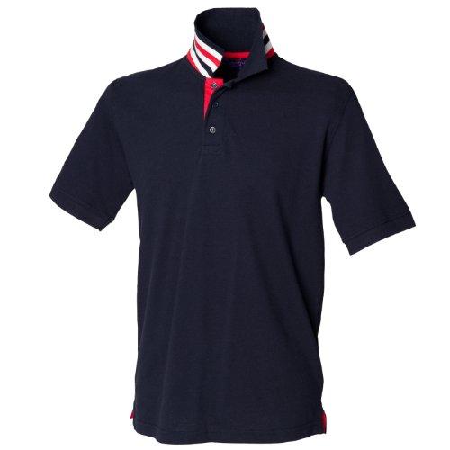 Henbury h283gestreift Collar Polo Shirt Gr. X-Large, Blau - Navy/Red/White