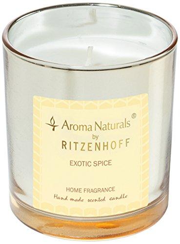 (Ritzenhoff Aroma Naturals Luxury Scented Candle Glass, Black, Yellow, 7 x 7 x 8 cm)