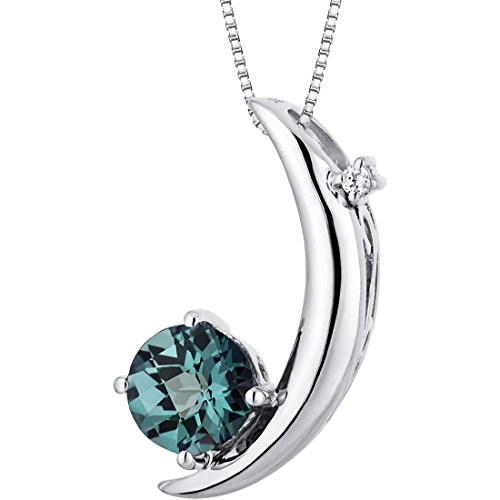 Simulated Alexandrite Pendant Necklace Sterling Silver 1.00 Carats Crescent Moon Design