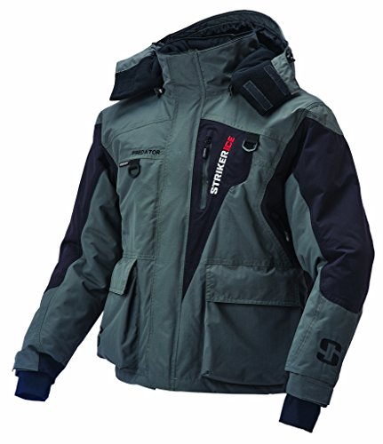 Striker ice predator jacket large l gray black 115204 for Ice fishing jacket
