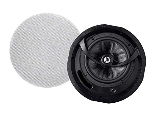 Monoprice Alpha 2-Way Ceiling Speakers - 6.5 Inch (Pair) Carbon Fiber, Paintable Magnetic Grille, Louder with Less Power