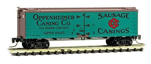 (Micro-Trains MTL Z-Scale 40ft Wood Reefer Car Oppenheimer Casings/OPPX #8025)
