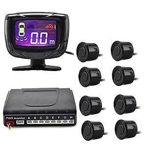 """GDW 2 """"Pantalla de 8 sondas sensor de aparcamiento LCD Digital Y Zumbador - Negro (DC 12V) , Black"""