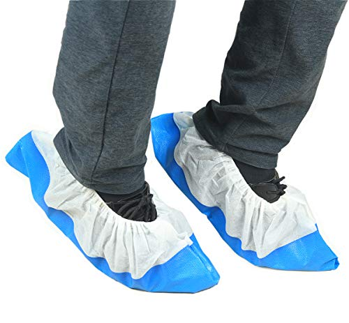 Lifesoft Waterproof Disposable Shoe Covers, Heavy Duty Non Slip, One Size Fit Up to XL, 50 Count