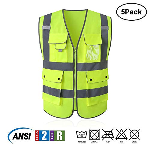 Tekware High Reflective and Breathable Safety Vest, Pack of 5 Bright Neon Color Construction Protector with Reflective Strips and Zipper with 6 Pockets by Tekware (Image #2)
