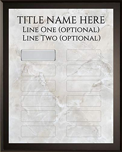 Employee of The Month DIY Perpetual Gray Marble Plaque Magic Recognition Award Kit - 12 Plate Model - Fully Customizable - Salesperson of The Month - No Engraving Needed Do It Yourself