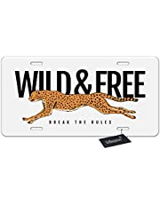 WONDERTIFY License Plate Funny Colorful Unicorn Horse Dabbing Dance with Glass on Blue Background Decorative Car Front License Plate,Metal Car Plate,Aluminum Novelty License Plate