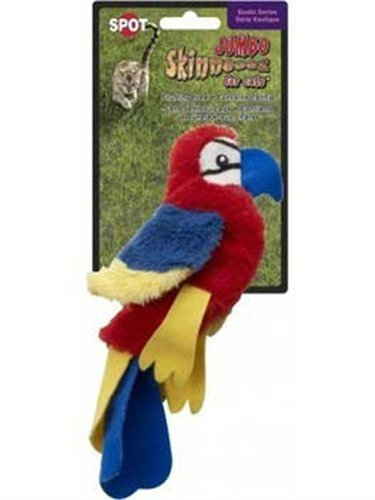 Image Ethical Skinneeez Scarlet Macaw 8-Inch Cat Toy