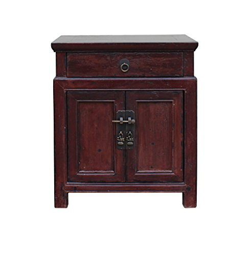 Chinese Side Table (Oriental Chinese Distressed Brown Side Table Nightstand Cabinet Acs3485)