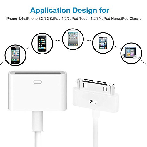 30-pin Male to Female Dock Extension Cable, TomJoy 3 3ft Extender Cord for  iPod iPhone 4 4S iPad 2 3, Works for Audio with Bose Sounddock Sony Ihome &