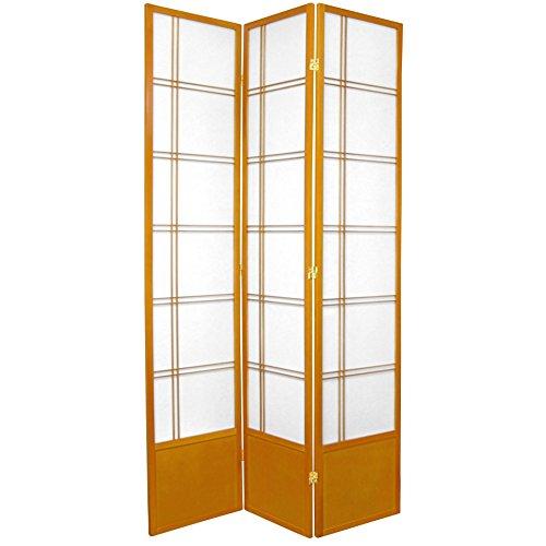 Oriental Furniture 7 ft. Tall Double Cross Shoji Screen - Honey - 3 Panels