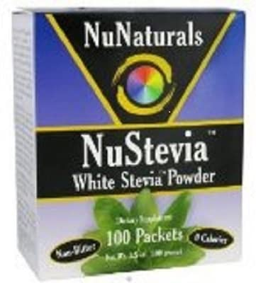 NuNaturals – NuStevia White Stevia Powder – 100 Packet s Pack of 3