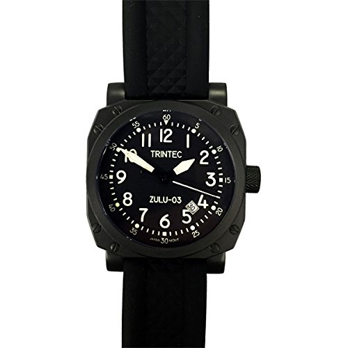 Cockpit Automatic Watch (Trintec Zulu-03 Cockpit Clock Automatic Aviator Watch with Black PVD Case 9067VW)