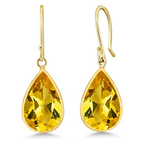 Gem Stone King 14K Yellow Gold Citrine Dangle Women's Earrings 10.00 Ctw Pear Shape Gemstone -